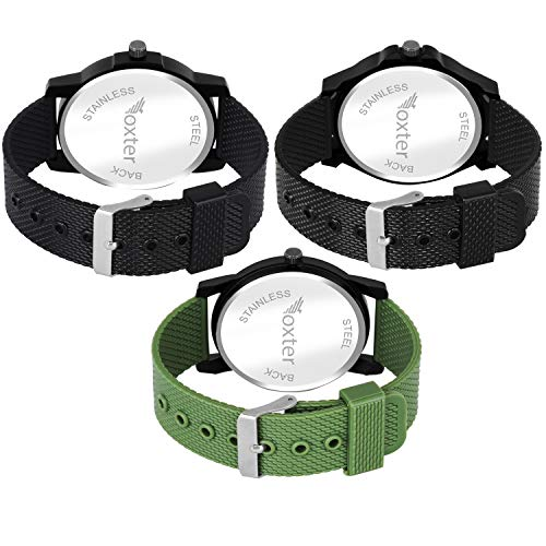 BEARDO Quartz Movement Analogue Display Multicoloured Dial SiliconeBelt Men's Watch(FX-493-494-495) - Pack of 3