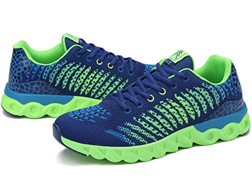 Unisex Erwachsene Modische Sneakers Leichtgewicht Atmungsaktiv Anti-Rutsch Tragene Laufschuhe Schnürhalbschuhe Blau