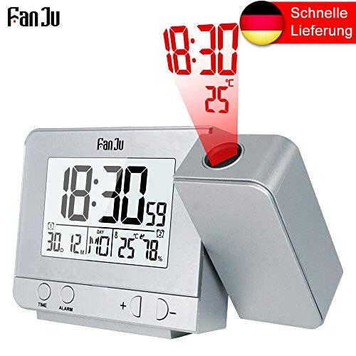 IsEasy Projektionswecker mit Temperatur und Zeit-Projektion Funkwecker Digitaler Wecker (Weiß) (Outdoor-atomuhr)
