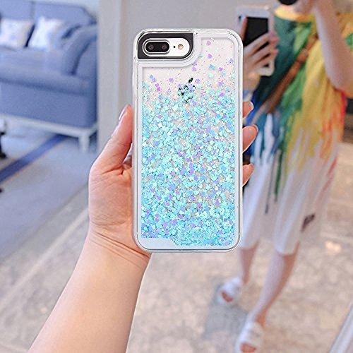 Conque iPhone 7 Plus,Wuloo iPhone 7 Plus Luxux Bling Liquide Housse Etui Protection pour T¨¦l¨¦phone iPhone 7 Plus 5,5 pouces Bleu BLUE