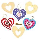 """Holzbilderrahmen-Bastelsets """"Herz"""" für Kinder zum Basteln zum Valentinstag oder Muttertag – Bastelset für Kinder (8 Stück)"""