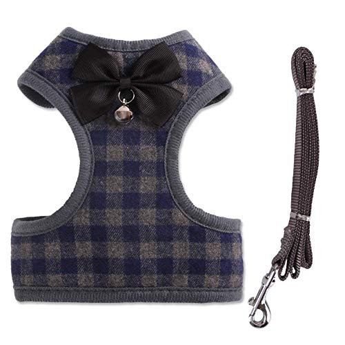 Tineer Haustier Hund Plaid Bowtie Harness Weste mit Nylon Leine für Puppy Cat Walking oder Training (S, Blue) -