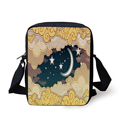 Fantasy Decor,Cartoon Style Night Sky with Clouds and Half Moon Cloudscape Illustration,Yellow Beige White Print Kids Crossbody Messenger Bag Purse Half Moon Knife
