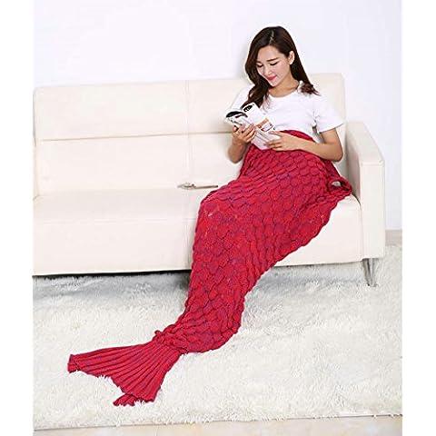 2016 ultima a una coda coperta e copertina a forma di sirena, per adulti e bambini, Super morbido, per tutte le stagioni, Sacco a pelo, 190,50 cm *(75 86,36 (34 cm Big red