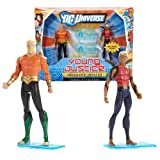 Mattel Year 2011 DC Universe Young Justice Series 2 Pack 4 Inch Tall Action Figure Set - HEROES OF THE DEEP with AQUAMAN and AQUALAD Plus 2 Display Bases by DC Comics by DC Comics