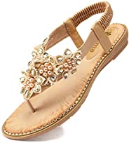 Odema Women's Bohemian Flat Sandals Elastic Slip On Flower Rhinestone Flip Flop S