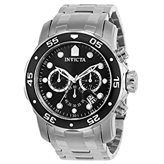 Invicta Pro Diver – Scuba Men's Wrist Watch Stainless Steel Quartz Black Dial – 0069