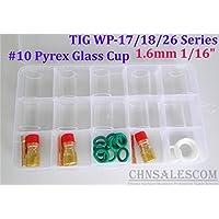 CHNsalescom 28 pcs TIG Welding Stubby Gas Lens #10 Pyrex Cup Kit WP-17/18/26 Torch 1/16