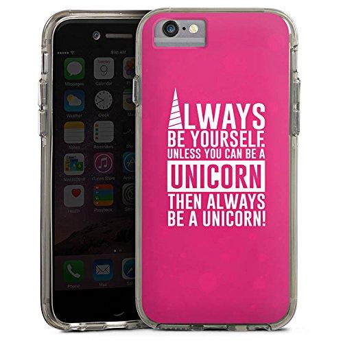 Apple iPhone 6 Bumper Hülle Bumper Case Glitzer Hülle Einhorn Unicorn Sprüche Spruch Statement Bumper Case transparent grau