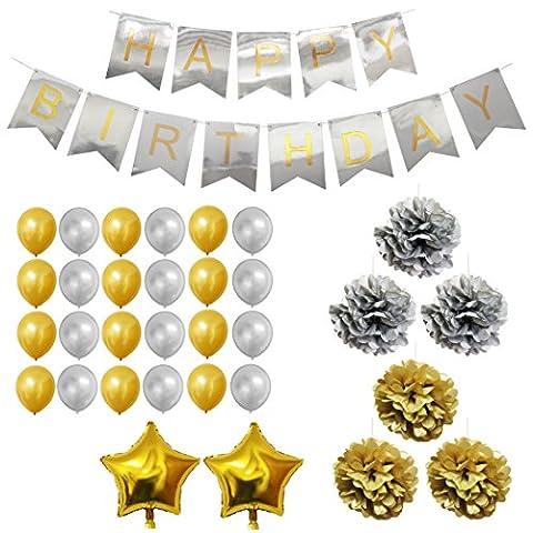 33-tlg. Dekorationen-Set - Gold und Silber - Pom-Poms, Happy Birthday Banner, Latexballons & Folienballons von Belle Vous - für Geburtstag, Kinder-Partys, Baby-Partys, Abschlussfeiern und Hochzeitsfeiern - Großpackung Dekorationen Zubehör für Mädchen, Jungen & Erwachsene