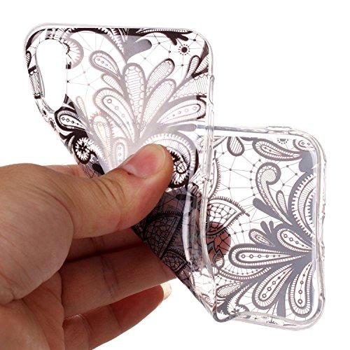 Custodia iphone X/ iphone 10 - Cover iphone X/ iphone 10 - Cozy Hut Case per iphone X/ iphone 10 [Ultra-Thin] Air Skin [Soft Clear] Premium Semi-transparent Super Lightweight, Custodia per iphone X/ i Fiore di Bauhinia Nero