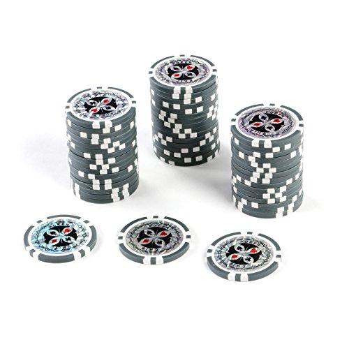 50 Poker-Chips Laser-Chips Wert 1, 12g Metallkern Poker Texas Hold`em Black Jack Roulette – grau – reflektierend