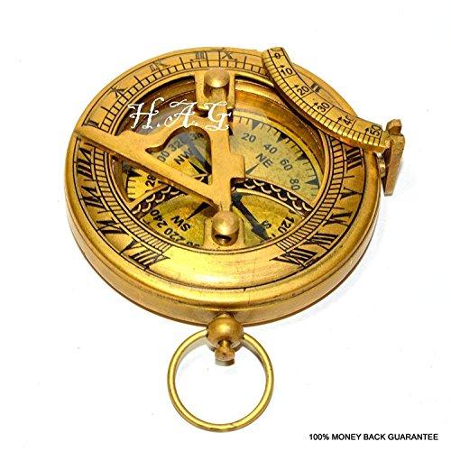 Samara Nautischer Messing-Kompass Militär oder Schiffe Nautische Taschenuhr-Stil Sonnenuhr Kompass Arbeitserstellung Messing Vintage Kompass mit Antik-Finish Super Geschenk -