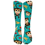 Sport Athletic Lightweight Tube Long Knee High Socks Men Monkey Love Banana Classicover The Calf Football Soccer Stocking Unisex Breathable Outdoor Stockings Gifts