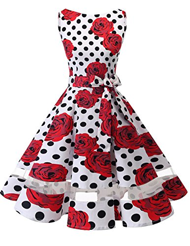 Vintage Rockabilly Kleid Knielang Partykleider Cocktailkleider White Black Dot Rose L (1960 Kleid)