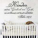 Vinyl Wandtattoo Psalm 127,3 Kinder sind ein Geschenk von Gott wer sie bekommt wird damit reich belohnt Bibel Vers Schriftzug Wand Aufkleber Worte Wandaufkleber Wandsticker Wanddekoration für Schlafzimmer Kinderzimmer Babyzimmer S101