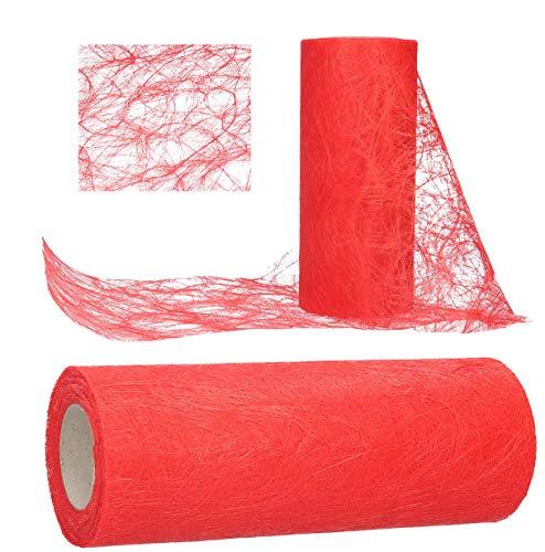 AmaCasa Tischläufer Sizoweb 20cm/25m Tischband Hochzeit Kommunion (Rot)