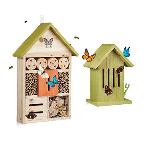 2 tlg. Insektenhotel Set, Schmetterlingshaus Holz, Schmetterlingshotel zum Aufhängen, Nisthilfe, Insektenhaus, hellgrün