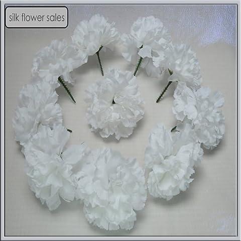 144 White carnation picks artificial silk flowers, wedding buttonholes, funeral tributes FREE P&P