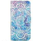 Galaxy A3 2016 Hülle,Galaxy A3 2016 Lederhülle,Surakey 3D Gemalt Muster Kristall Glitzer PU Leder hülle Flip Hülle Brieftasche Etui Wallet Tasche Schutzhülle für Samsung Galaxy A3 2016,Blau Mandala