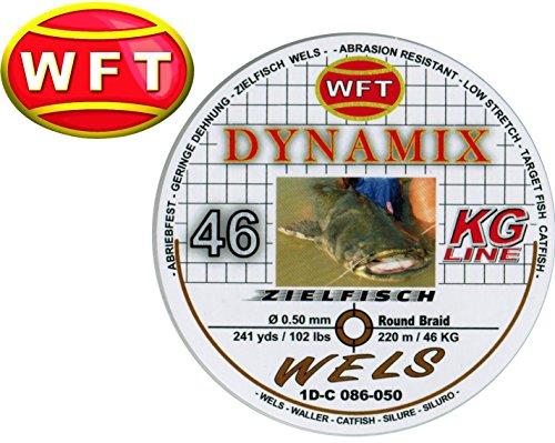 WFT Round Dynamix Wels braun 220m, geflochtene Angelschnur, Welsschnur, Schnur zum Wallerangeln, 46kg Tragkraft, 0,50mm Durchmesser, Wallerschnur, geflochtene Schnur