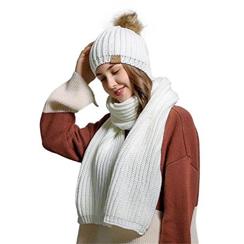 HCFKJ Femmes Crochet Bonnet En Laine Fourrure Bonnet Raton Laveur Casquettes + éCharpe ChâLe Costume (Blanc)
