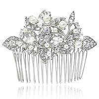 EVER FAITH® Crystal Art Deco Ivory Color Simulated Pearl Hair Comb Clear - Silver-Tone N01547-1