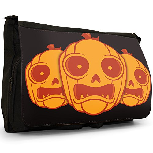 Fancy A Bag Borsa Messenger nero Moonlight Bats Scary Pumpkin Carved Face
