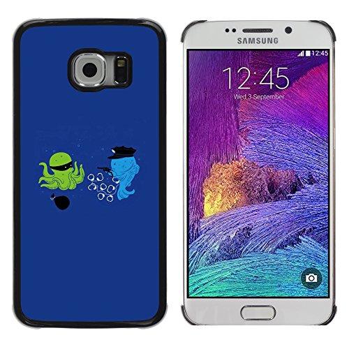 DEMAND-GO ( Nicht für S6 ) Handy Durabel Hart Schutz Hülle Einzig Bild Schale Cover Etui Case Für Samsung Galaxy S6 EDGE SM-G925 - Cartoon lustige optimistisch blau
