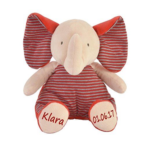 Stofftier Baby Elefant mit Namen und Geburtsdatum personalisiert Geschenk 20cm rot Aufdruck rot