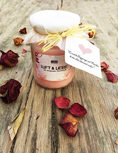 Große Duftkerze Luft & Liebe im Glas als Geschenk Set ✮ Rosa Wachs-Kerze mit romantischem Rosen-Duft ✮ Windlicht im Glas mit Deckel ✮ Große Duftkerze im Glas als