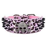 Hundehalsband Halsbänder aus PU Leder, mit Totenkopf Schwarz Nieten, 5cm Breit 38-61cm Verstellbar, für Große / Maximale Hunde, Retro Cool Design mehr Farben wählbar, Pink Leopard L