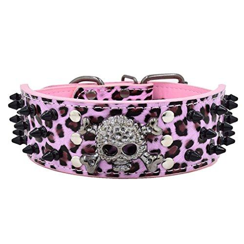 Generisches Hundehalsband Halsbänder aus PU Leder, mit Totenkopf Schwarz Nieten, 5cm Breit 38-61cm Verstellbar, für Große/Maximale Hunde, Retro Cool Design mehr Farben wählbar, Pink Leopard XXXL (Hundehalsband Leopard)