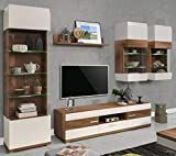 furniture24_eu Wohnwand Anbauwand Moka Vitrine Lowboard Hängevitrine Wandregal (Kirsche/Beige Hochglanz)