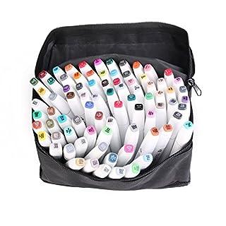 AOUTOS Alkoholbasierte Tinte Schnell Trocknend Marker Pen Set, Grafik Zeichnung Skizze Permanent Marker Pen,Mittel und Breit Zwilling Pen Punkt, Aufbewahrungstasche (80 Farben Universal Stil Weiß)