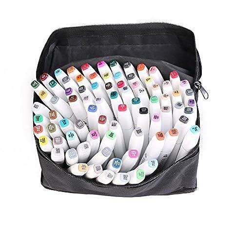 CONMING Marker Stifte Alkohol Graphic Marker Pen Set Animation Design Sketch Marker Broad Fine Points Twin Tip mit schwarzer Tasche (80 Farben) (Weiß)