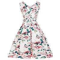 VESNIBA Women's Vintage Bodycon Sleeveless Casual Retro Evening Party Prom Swing Dress Pink XX-Large