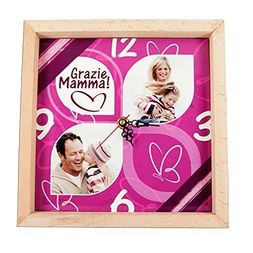 Wanduhr personalisierte Stampy Holz Bilderrahmen Mama