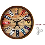 """Elios 12"""" Round Designer Vintage Look Wall Clock with Glass for Home / Kitchen / Living Room / Bedroom (Silent Non Ticking Movement) - Free Gift (Spinning Toy)"""