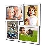 405 Fotogalerie für 4 Fotos 13x18 cm - 3D Optik - Bilderrahmen Bildergalerie Fotocollage Rahmenfarbe Weiß