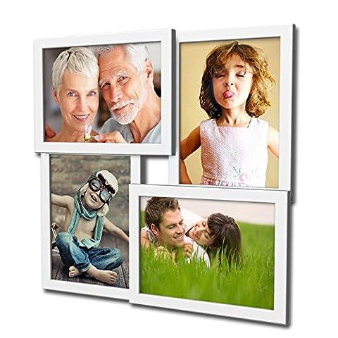 405 Fotogalerie für 4 Fotos 13x18 cm - 3D Optik - Bilderrahmen Bildergalerie Fotocollage Rahmenfarbe