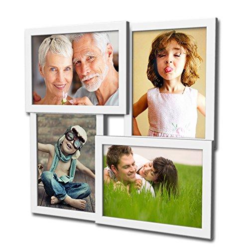 Artepoint 405 Fotogalerie für 4 Fotos 13x18 cm - 3D Optik - Bilderrahmen Bildergalerie Fotocollage Rahmenfarbe Weiß (36x18 Rahmen)