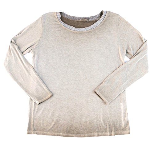 Damen Mode Basic Outfit Langarmshirt Long-Shirt Longsleeve Pulli Pullover Glitzer M L 38 40 42 (8390) schlamm taupe beige