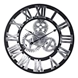 HTDZDX 40cm Reloj de Pared de Hierro Forjado Viento Industrial Reloj de Engranajes Vintage, Reloj de Pared de Sala de Estar Números Romanos