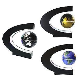 Levitación magnética globo flotante con LED C forma base giratoria planeta tierra globo para decoración de escritorio regalo de cumpleaños de Navidad