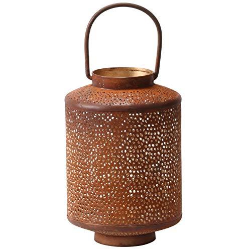 Orientalische rostige Laterne Windlicht Almas 23cm groß | Marokkanische Rost Gartenlaterne für draußen Innen als Tischlaterne | Marokkanisches Gartenwindlicht hängend oder zum hinstellen