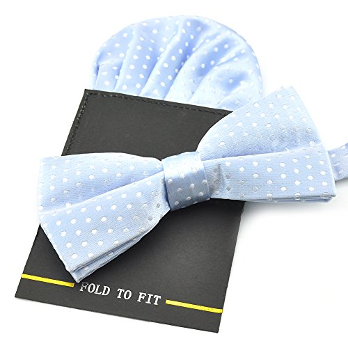 PenSee Silk Hot Dot pour homme comprenant 1 noeud Papillon prénoué & Hanky de cartes Différentes couleurs Bleu - Bleu clair