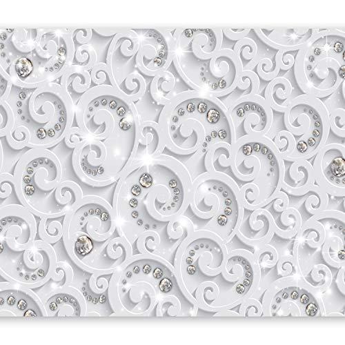 *murando – Fototapete 3D Effekt 400×280 cm – Vlies Tapete – Moderne Wanddeko – Design Tapete – Wandtapete – Wand Dekoration – Ornament weiß grau f-C-0218-a-a*