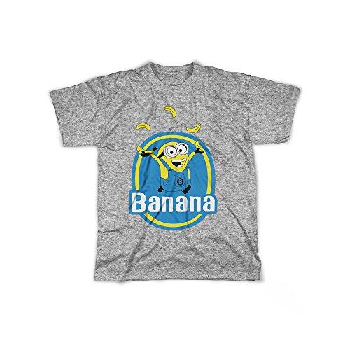 rt mit Aufdruck in Grau Gr. M Kleine Gelbe Monster Banana Design Boy Top Jungen Shirt Herren Basic 100% Baumwolle Kurzarm (Bananen-mann-outfit)