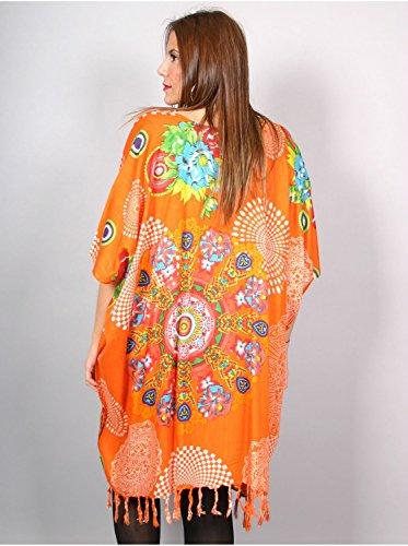 Vêtement Femme Grande Taille Tunique longue florale orange Orange